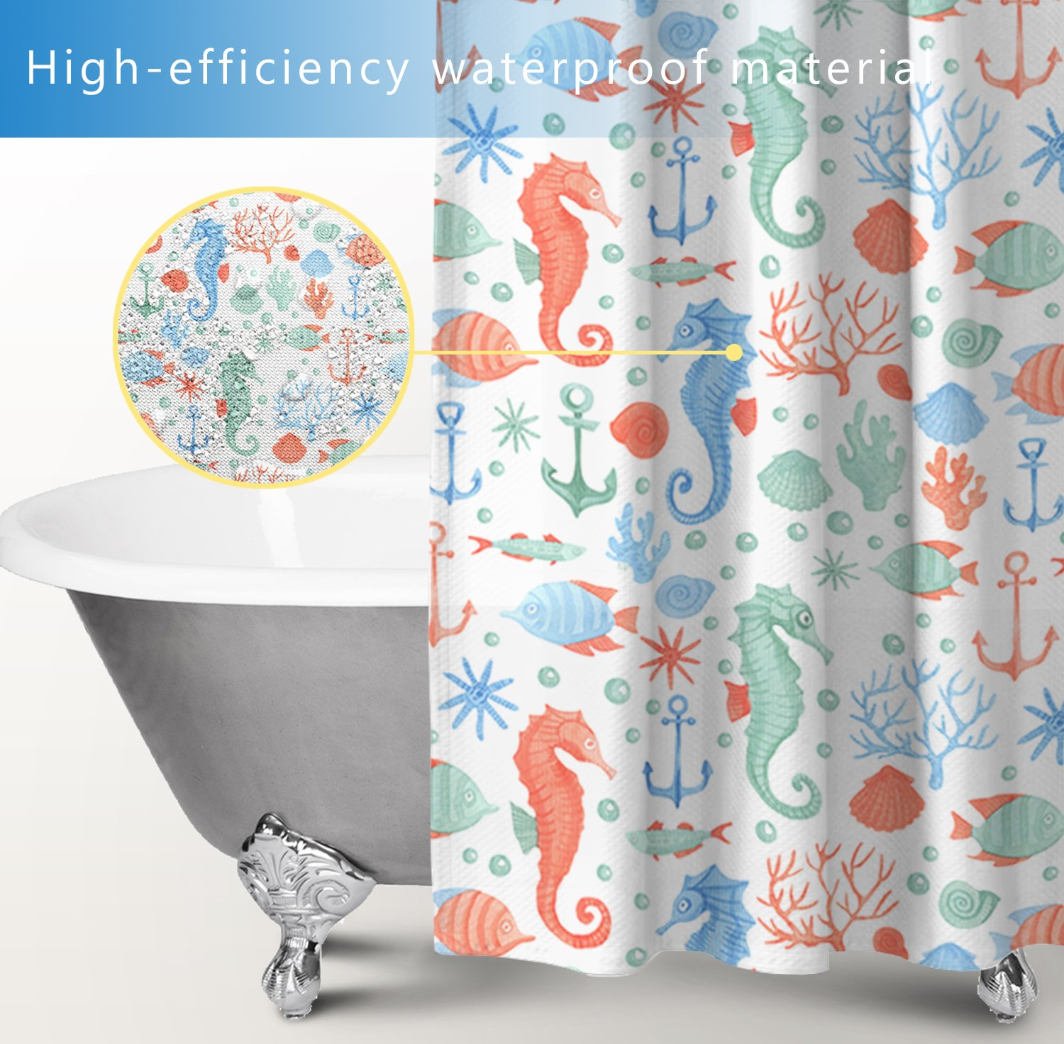 Fabric Stall Shower Curtain 36 x 72 Inch for Bathroom Set,Turtle ...