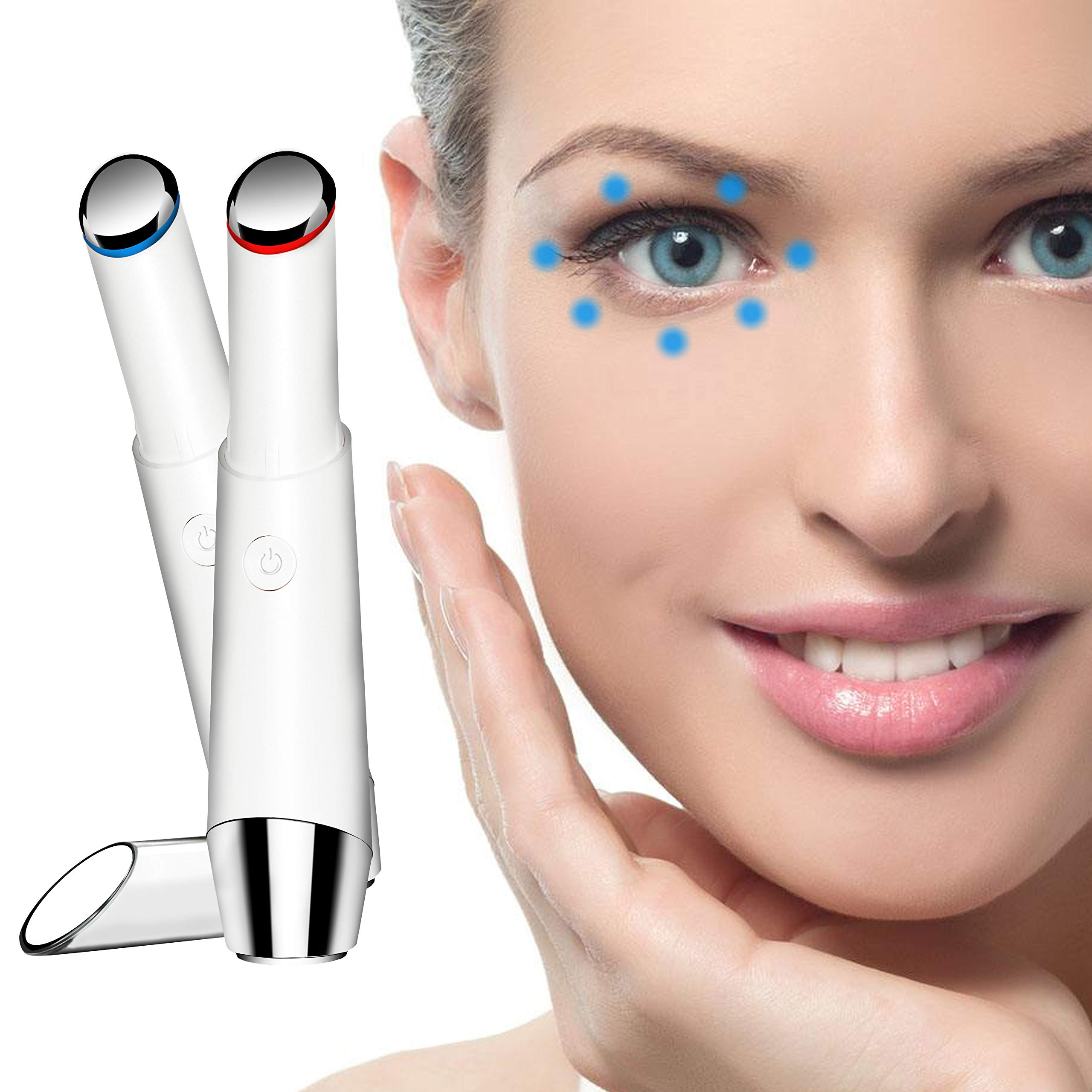 Eye Massager, SODPE facial massager with 42℃ Heat & Sonic Vibration for Dark Circles, Puffiness and Eye Fatigue, Anti-wrinkle, Two Modes, USB Rechargeable eye roller anti aging skin products by SODPE