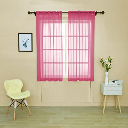 Amazon.com: HOLKING Rod Pocket Sheer Curtains 63 inch for Bedroom ...