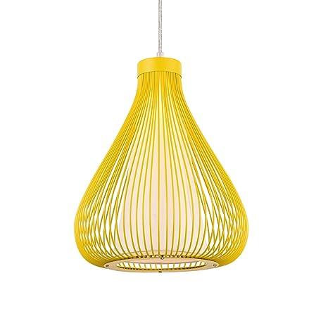 [lux.pro] Lámpara de techo tipo colgante con pantalla decorativa metálica - colgante moderna - mostaza (E27)
