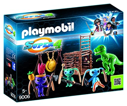 Amazon.com: Playmobil 9006 Super 4 Alien Warrior with T-Rex ...