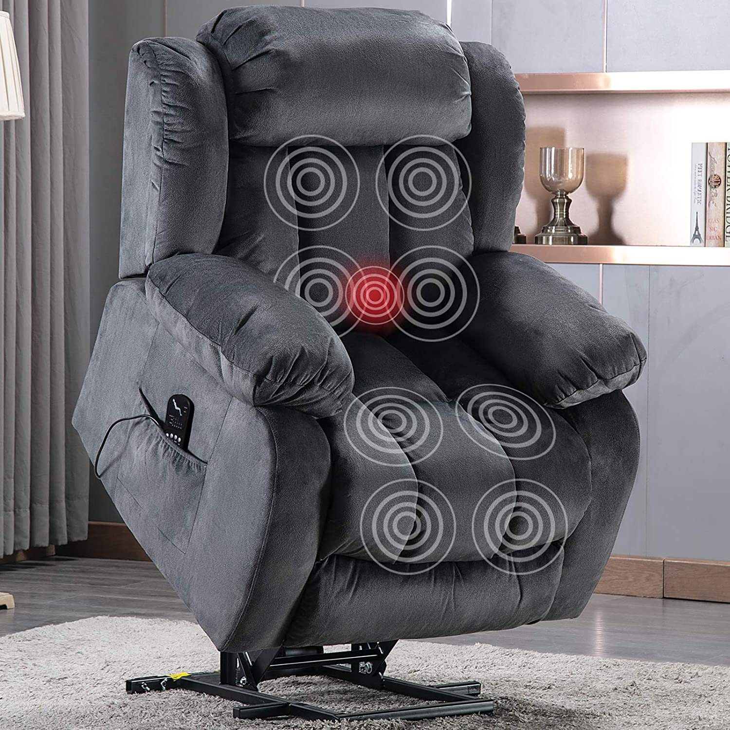 Anj Power Massage Lift Recliner Chair With Heat Vibration For Elderly Heavy Duty And Safety Motion Reclining Mechanism Antiskid Fabric Sofa Contempoary Overstuffed Design Grey Kitchen Dining