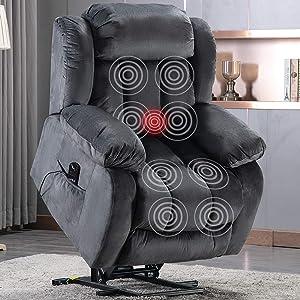 ANJ Power Massage Lift Recliner Chair with Heat & Vibration