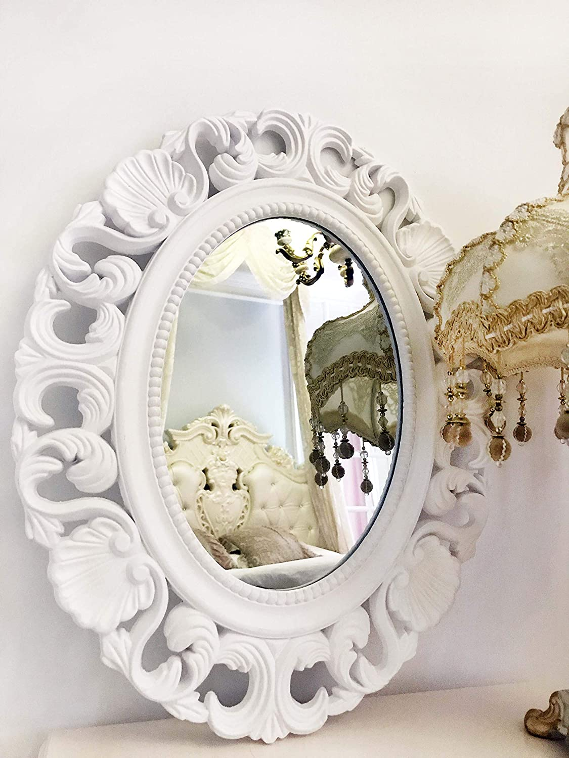 Antique Princess Decor For Bedroom Bathroom Basswood Hunters Oval Vintage Decortative Wall Mirror Living Room Playroom Dressers 21x 17 Dressers 21 X 17 Zhuoqin Shen White Wooden Frame Wall Mounted Mirrors
