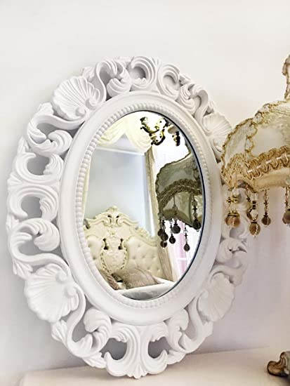 Basswood Hunters Oval Vintage Decortative Wall Mirror White Wooden Frame Antique Princess Decor For Bedroom Bathroom Living Room Playroom Dressers