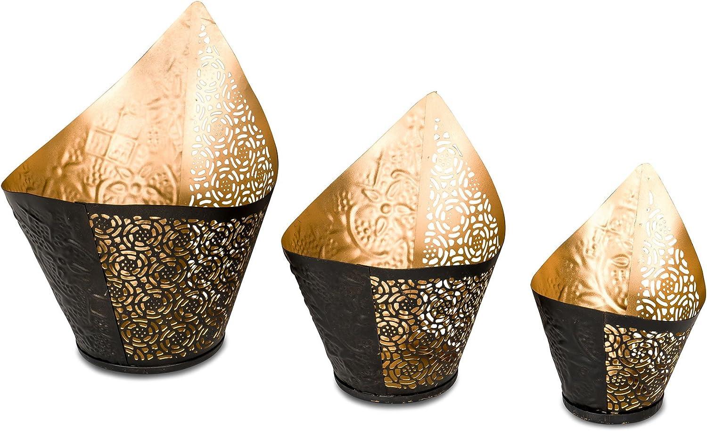 Set Chinesischer Stil Metall Kerzenhalter Einfache Goldene F3P3 3 Stücke