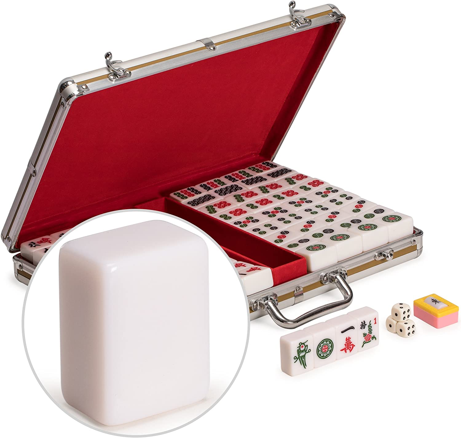 Yellow Mountain Imports Professional Chinese Mahjong Set with Aluminum Case - Large Tiles Size: 1.6 x 1.1 x 0.8 inches (40mm x 29mm x 20mm) - for Chinese Style Gameplay Only