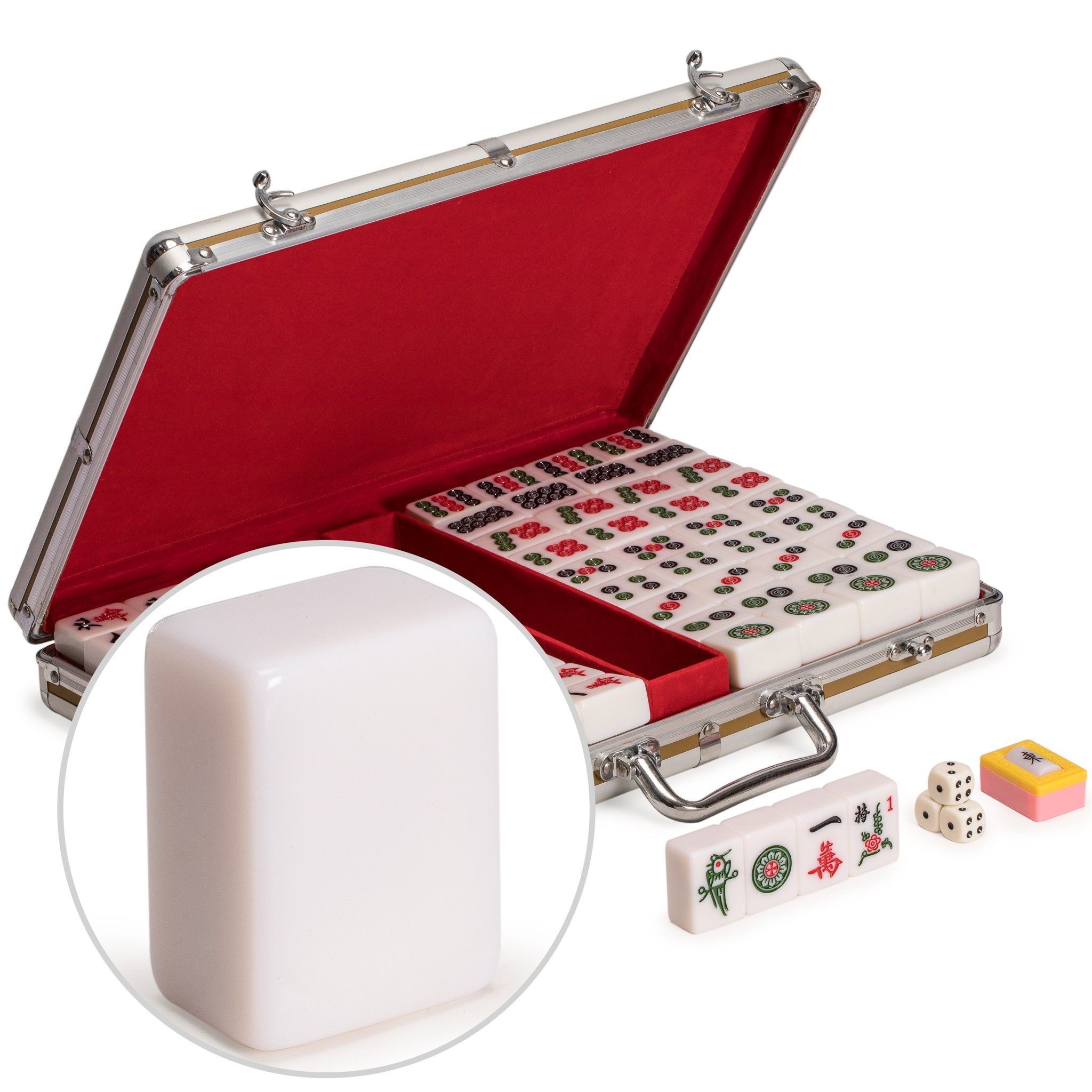 Yellow Mountain Imports Professional Chinese Mahjong Set with Large Tiles and Aluminum Case