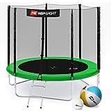 Hop-Sport Gartentrampolin Outdoor Trampolin 244, 305, 366, 430, 490 cm Komplettset inkl. Außennetz Leiter Sprungmatte Randabdeckung Wetterplane Bodenhaken und gepolsterten Netzpfosten Grün