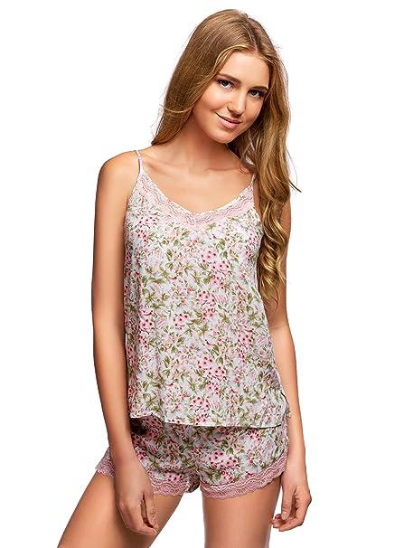 oodji Collection Mujer Pijama de Viscosa con Encaje, Blanco, ES 36 / XS