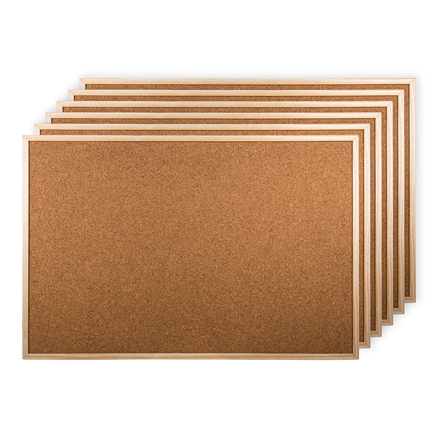 Office Works, Cork Board, Pack of 6, 17 x 23 inches, Beige