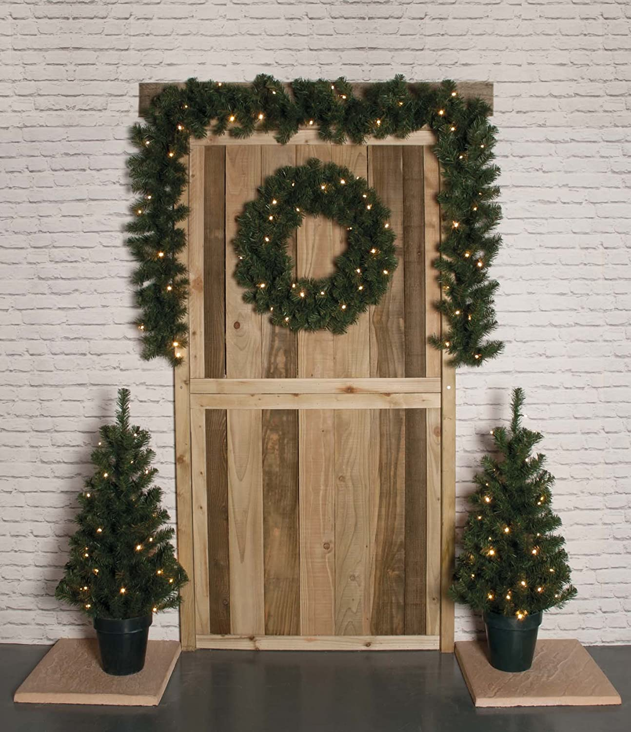 4 Piece Prelit Christmas Door Decoration Set - Consists Of 2 Trees, A Wreath And A Garland. Festive