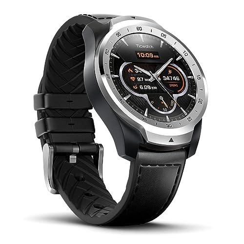 Reloj Inteligente TicWatch Pro con Bluetooth Pantalla en Capas Asistente Google medidor de Ritmo cardiaco y pagos NFC Sístema Google Wear OS Compatible con iPhone Samsung Huawei LG y Android