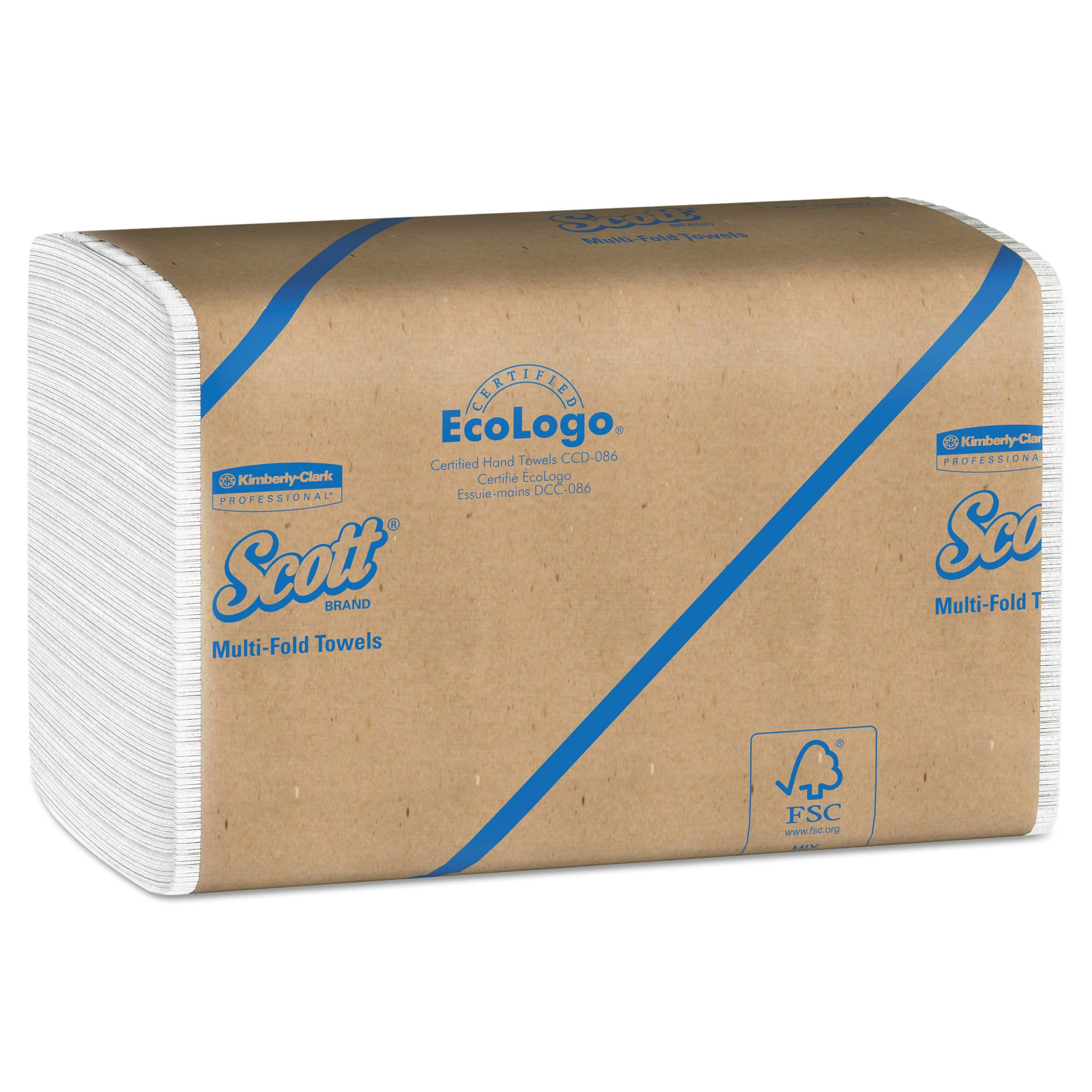 Scott Essential Multifold Paper Towels (01840) with Fast-Drying Absorbency Pockets, White