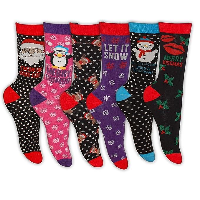 Para mujer de Navidad calcetines varios diseños, UK 4 – 7 multicolor 1 Pair (