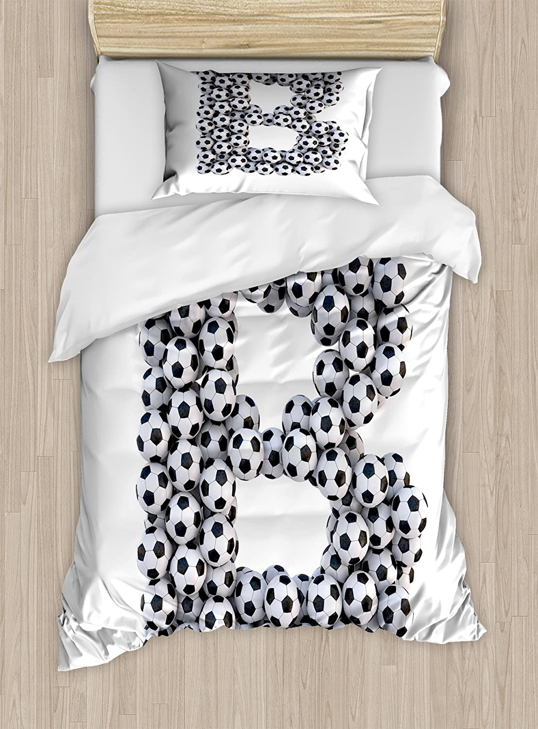 Illustration of Soccer Ball Championship Tournament Victory Theme Stadium Team Play Decorative 2 Piece Bedding Set with 1 Pillow Sham Ambesonne Sports Duvet Cover Set Twin Size Black White