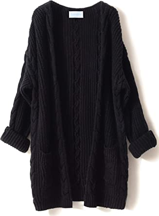 LONGMING Womens Winter Button Down Knitwear Long Sleeve Soft Cashmere Knit Cardigan Sweater with Pockets