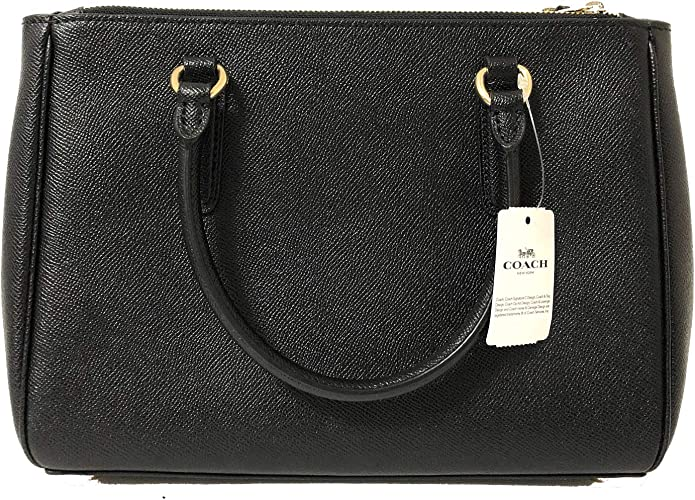 New Authentic Coach F44958 Leather Surrey Carryall Satchel Purse Handbag Black