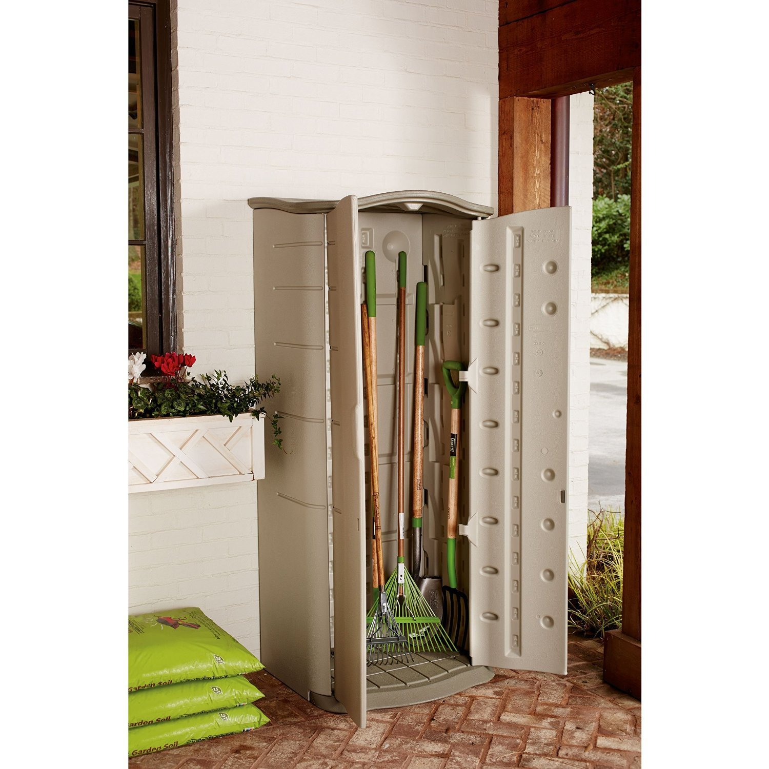 Amazon.com  Rubbermaid Outdoor Vertical Storage Shed Plastic 17 cu. ft 2 ft. x 2 ft Olive/Sandstone (FG374901OLVSS)  Storage Cabinet  Garden u0026 ...  sc 1 st  Amazon.com & Amazon.com : Rubbermaid Outdoor Vertical Storage Shed Plastic 17 ...
