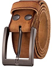 """KEEPBLANCE Men's Classic Casual Jean Style Strong Built Genuine Leather Belt (1.5"""" Width) …"""