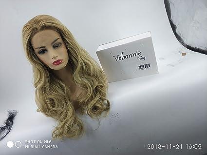 vébonnie moda Ombre Rubio Lace Front Peluca para mujer oscuro arraigado miel Rubio pelucas pelo sintético