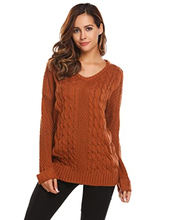 6c91aa58b8 Image Unavailable. Image not available for. Color  EASTHER Women s Fashion  Oversized Knitted V Neck Casual Pullovers Sweater