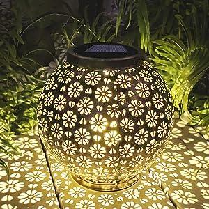 Large Solar Lantern Outdoor Hanging Lights Decorative Garden Lights Waterproof Metal Table Lamp for Garden, Yard, Tabletop, Patio, Lawn