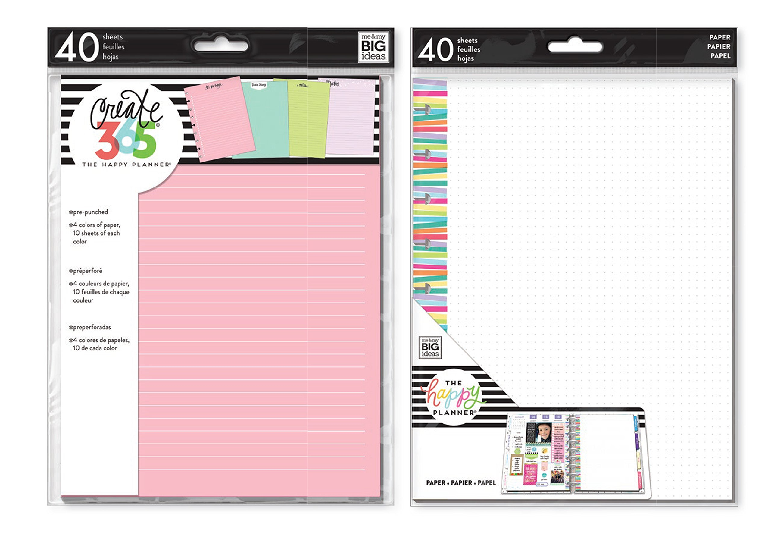 me & My Big Ideas Create 365 Medium/Classic Colored Fill Paper and Fill Multi-Stripe Dot Grid (Set of 2)