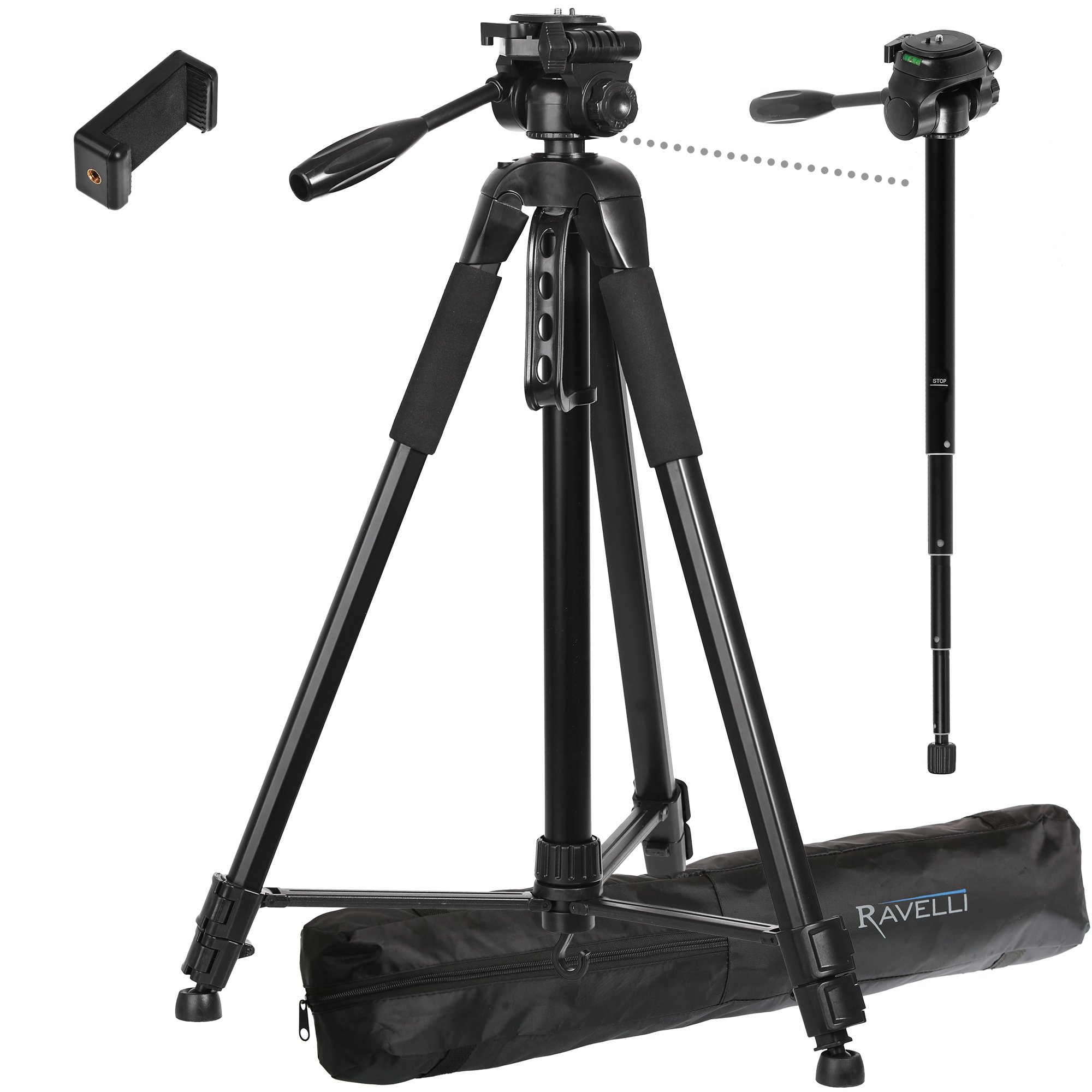 Ravelli APLT6M 72'' Light Weight Aluminum Tripod with Monopod Includes Carry Bag and Universal Smartphone Mount