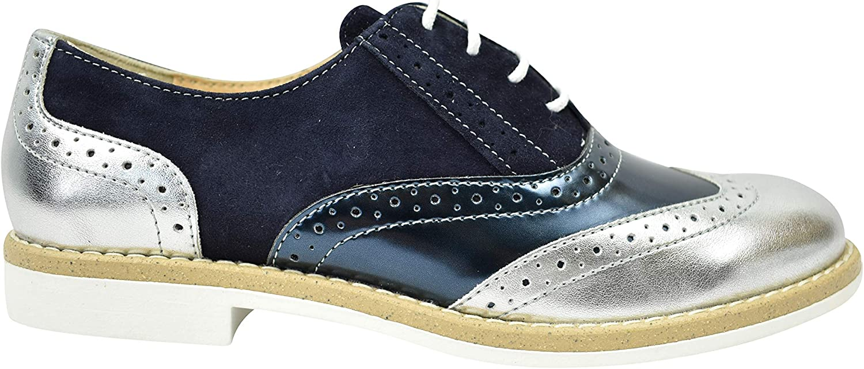 EMANUELE GELMETTI Zapato Mujer Francesina Stringate Piel Azul Plata Desert 19МF01-7