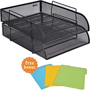 2 Tier Paper Letter Tray Desk Organizer with Bottom Support Frame Stackable Desktop File Document Organizer Metal Mesh Collection Office Desk Accessories with 3Pcs File Folders,Vertical Black