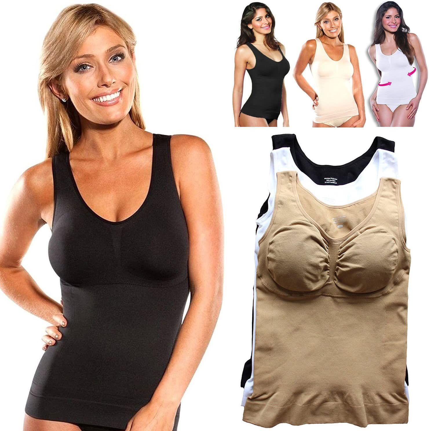 New Cami Body Shaper By Genie Bra TV ShapeWear Tank Top Slimming Camisole Shaper Large (XL, black)