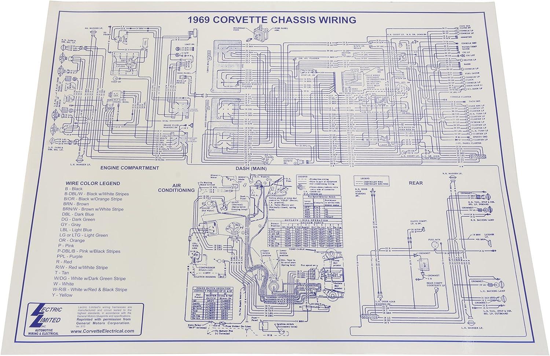 1969 corvette chassis wiring diagram amazon com 1969 corvette wiring diagram automotive  1969 corvette wiring diagram