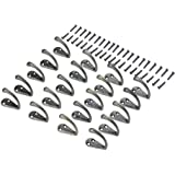 20pc Vintage Bronze Hooks - Wall Mounted Single Hook Hangers Now Bigger, Better and Equipped with 40 Extra-Long 17mm Screws