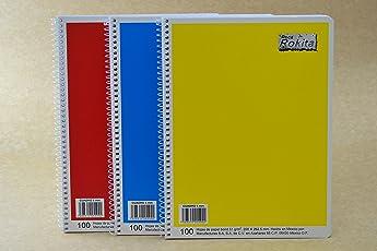 Caja con 12 cuadernos profesional Rokita de 100 hojas ESPIRAL diferentes colores, CUADRO 5 mm