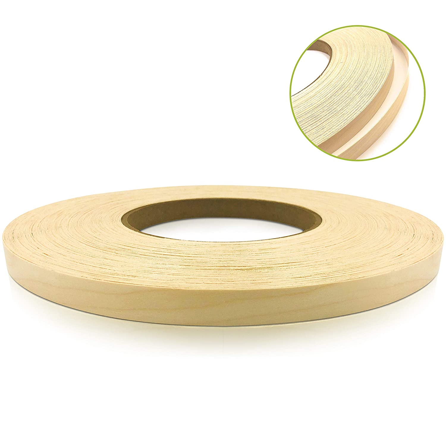Birch 1/2 X 250' Roll Preglued, Wood Veneer Edge Banding, Iron on with Hot Melt Adhesive, Flexible Wood Tape Sanded to Perfection. Easy Application Wood Edging, Made in USA. Edge Supply