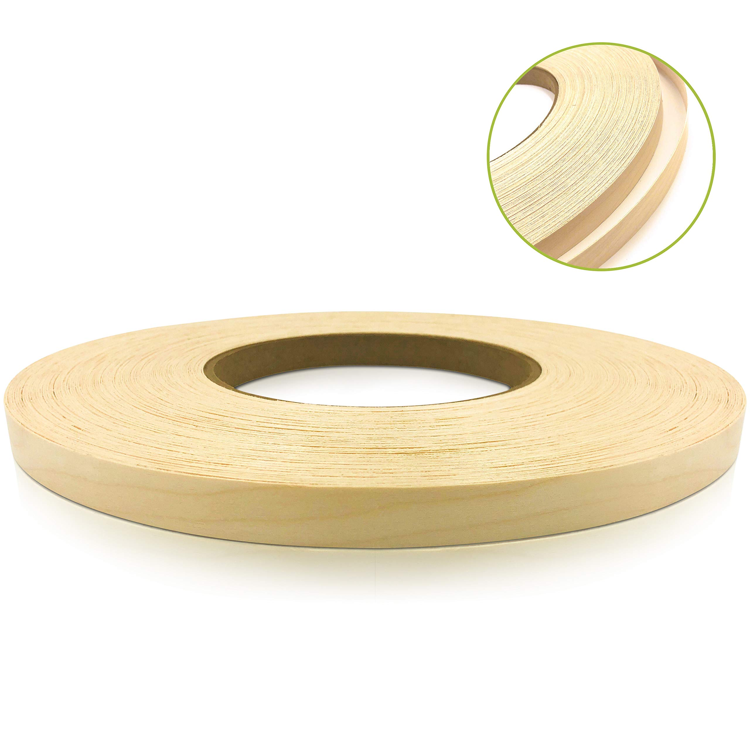 Edge Supply Maple 13/16'' X 250' Roll, Wood Veneer Edge Banding Preglued, Iron on with Hot Melt Adhesive, Flexible Wood Tape Sanded to Perfection. Easy Application, Made in USA. by Edge Supply
