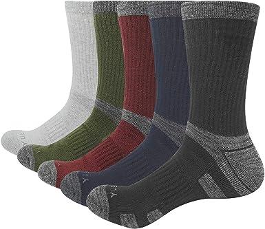 5 pares de calcetines de senderismo para hombre, de algodón grueso que absorbe los calcetines atléticos para deportes al aire libre, senderismo, ...