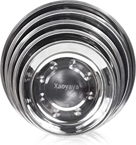 Xaoyaya Stainless Steel Round Dinner Plates Fruit And Vegetable Flat-Bottomed Plate Is Thick And Durable, Used In Home Kitchen, Restaurant, Outdoor Camping, Hiking, Picnic, Barbecue, Beach 5Pack