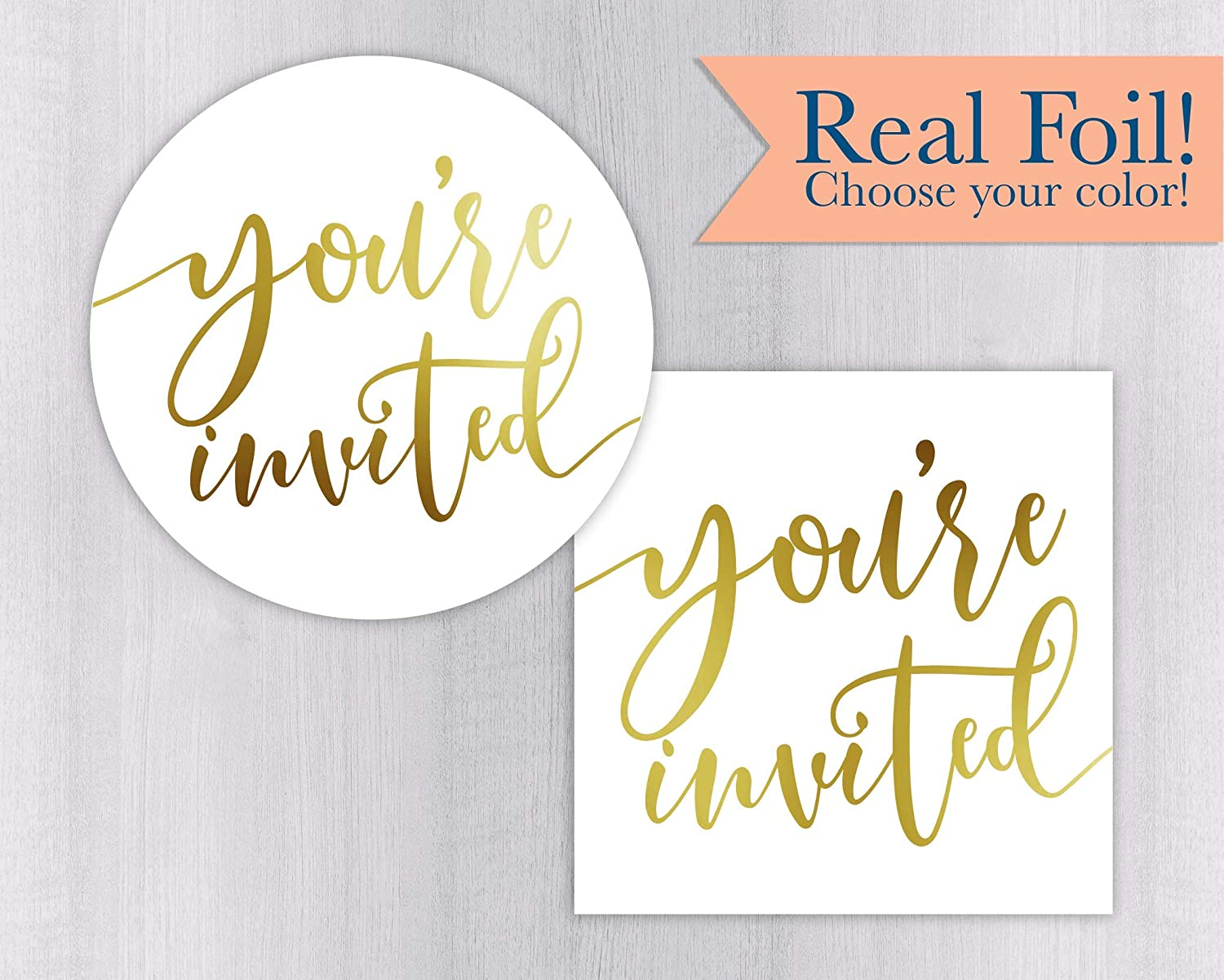Personalized Color Foiled Event//Party//Celebration Stickers #499-1-F Youre Invited Wedding Stickers