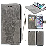 iPhone 6 Case,iPhone 6S Case, Wallet Case PU Leather Flip Case 2 in 1 Case Magnetic Detachable TPU Cover Embossed Elephant Design Card Slots Cover Wrist Strap Case Shockproof Case Phone Cover for iPhone 6,iPhone 6S -Gray