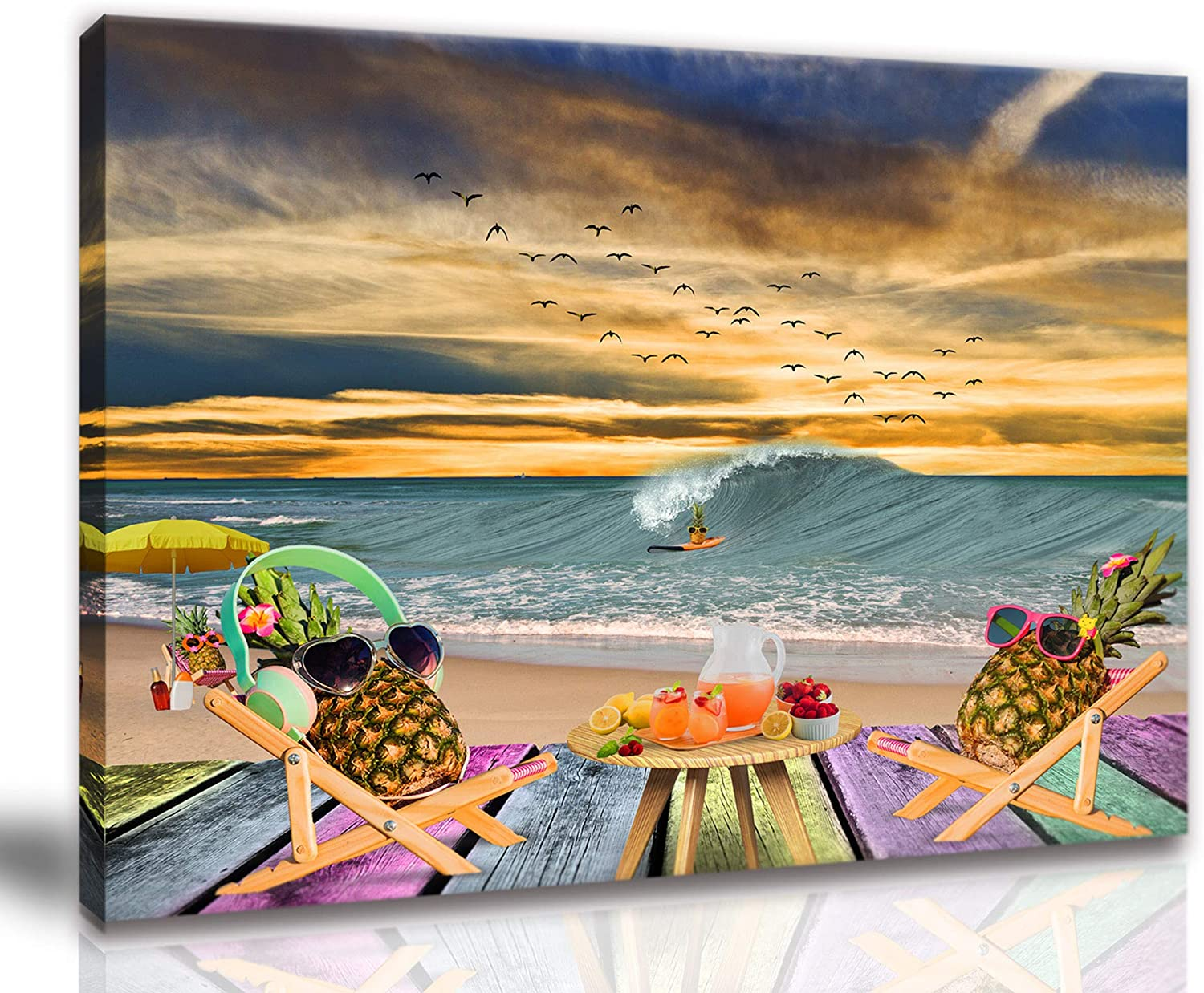 Pineapple Wall Art Pineapple Bathroom Decor Beach Pictures Wall Art Artwork For Home Walls Wooden Picture Frames Beach Theme Bedroom Decor Canvas Wall Art Size 12x16