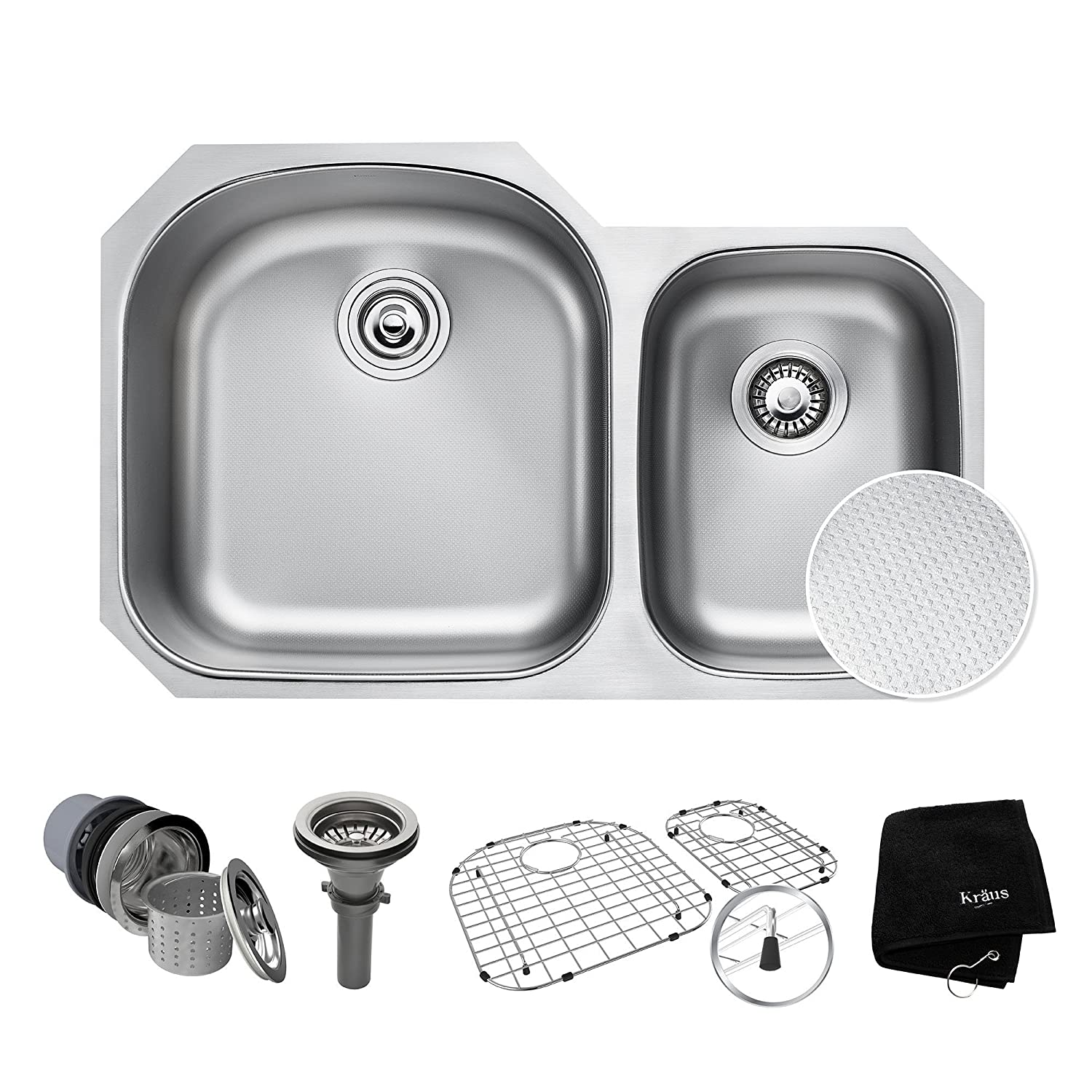 "KRAUS Outlast MicroShield Scratch-Resist Stainless Steel Undermount 60/40 Double Bowl Sink, 32"" 16 Gauge, Premier Series KBU23E"