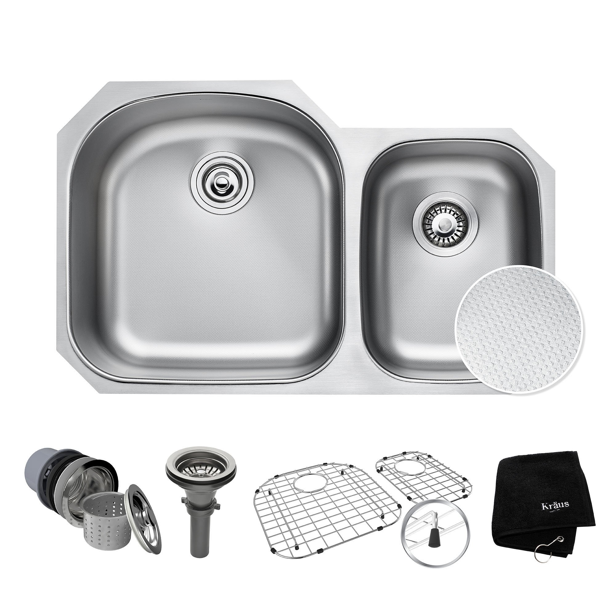 KRAUS Outlast MicroShield Scratch-Resist Stainless Steel Undermount 60/40 Double Bowl Sink, 32'' 16 Gauge, Premier Series KBU23E