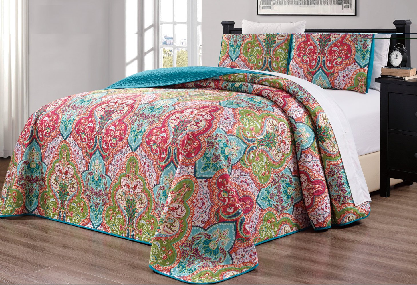 "3-Piece Oversize (115"" X 95"") Fine Printed Prewashed Boho Decor Quilt Set Reversible Bedspread Coverlet (California) Cal King Size Bed Cover (Turquoise Blue, Sage Green, Orange, Terra Cotta Red)"