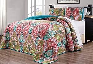 "3-Piece Oversize (115"" X 95"") Fine Printed Prewashed Quilt Set Reversible Bedspread Coverlet King Size Bed Cover (Turquoise Blue, Sage Green, Orange, Terra Cotta Red)"