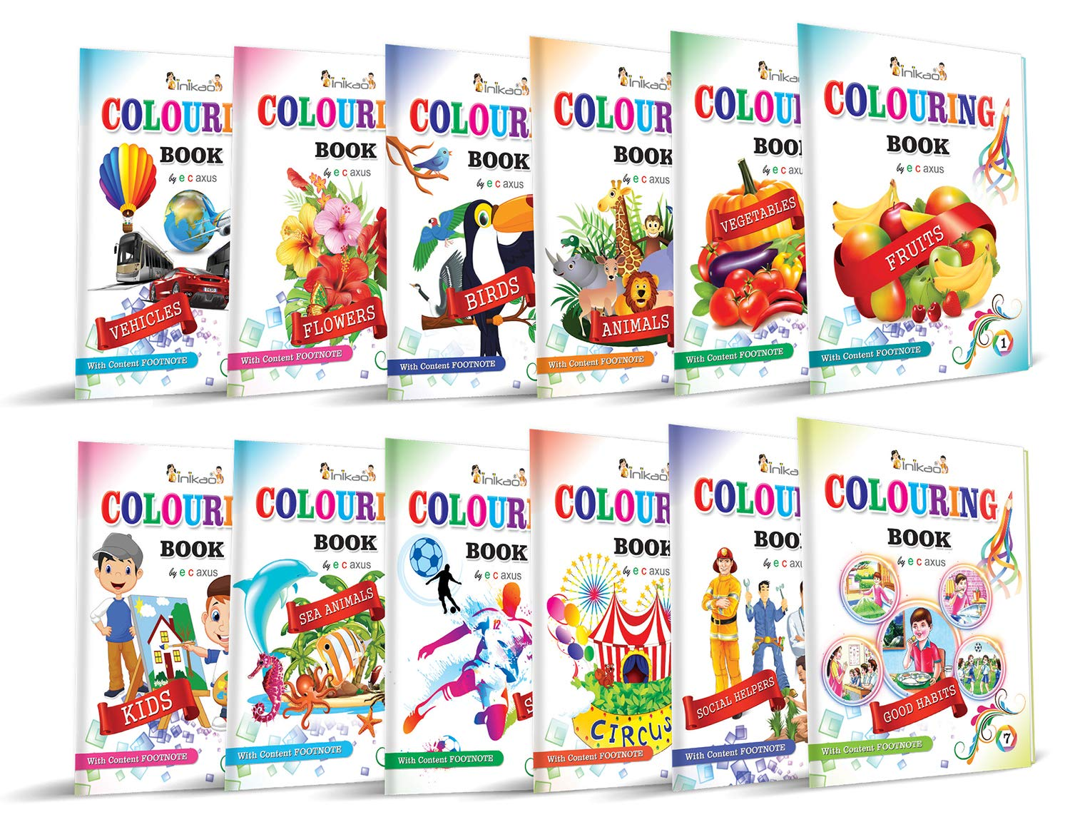 Colouring Books Collections by InIkao (12 Books) : Pack of 12 Copy Color Books For Kids