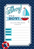 Ahoy it's a Boy - 24 Nautical Themed Baby Shower Invitations and 24 Envelopes