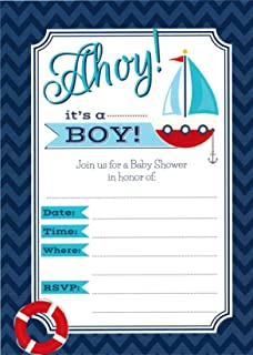 Ahoy Itu0027s A Boy   24 Nautical Themed Baby Shower Invitations And 24  Envelopes