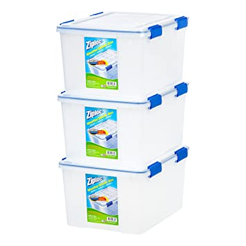 IRIS USA, Inc  WSB-SD WeatherShield Storage Box, 44 Quart, Clear, 3 Pack